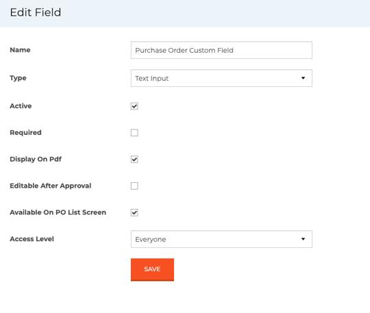 Purchase Order Custom Field Edit Window Example